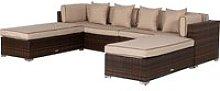 Rattan Garden Day Bed Sofa Set in Brown - Monaco