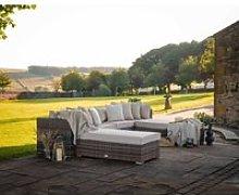 Rattan Garden Day Bed Sofa Set in Truffle Brown