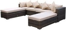 Rattan Garden Day Bed Sofa Set in Truffle Brown