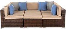 Rattan Garden Daybed Sofa Set in Brown - Geneva