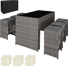 Rattan garden furniture bar set Capri with protective cover - grey