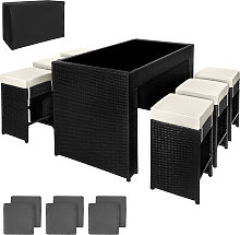 Rattan garden furniture bar set Capri with protective cover - black