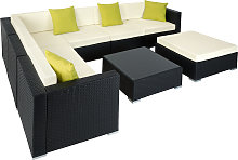 Rattan garden furniture lounge Marbella - black