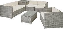 Rattan garden furniture lounge Pisa - light grey