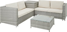 Rattan garden furniture lounge Siena - light grey
