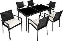 Rattan garden furniture set Brixen 6+1 - black
