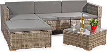 rattan garden furniture set - couch with table,