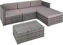 Rattan garden furniture set lounge Florence - grey