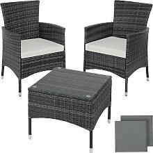 Rattan garden furniture set Lucerne - grey