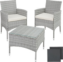 Rattan garden furniture set Lucerne - light grey