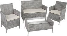 Rattan garden furniture Set Madeira - light grey