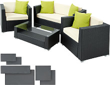 Rattan garden furniture set Munich - black