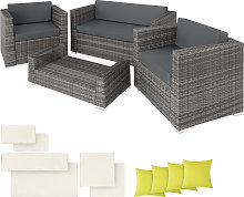 Rattan garden furniture set Munich - grey
