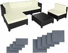 Rattan garden furniture set with aluminium frame - garden sofa, rattan sofa, garden sofa set - black