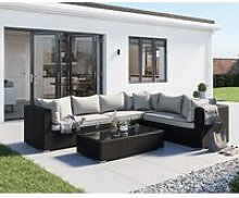 Rattan Garden Lefthand Corner Sofa Set in Black