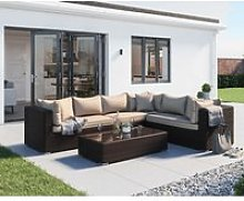 Rattan Garden Lefthand Corner Sofa Set in Brown -