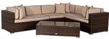Rattan Garden Lefthand Corner Sofa Set in Brown -