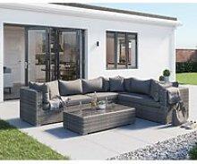 Rattan Garden Lefthand Corner Sofa Set in Grey -