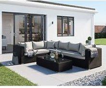 Rattan Garden Righthand Corner Sofa Set in Black