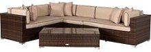 Rattan Garden Righthand Corner Sofa Set in Brown -