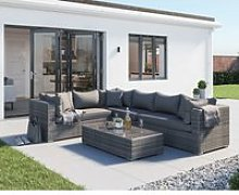Rattan Garden Righthand Corner Sofa Set in Grey -