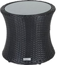 Rattan Garden Tall Round Side Table in Black -