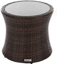 Rattan Garden Tall Round Side Table in Brown -