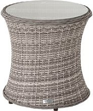 Rattan Garden Tall Round Side Table in Grey -