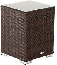 Rattan Garden Tall Square Side Table in Brown -