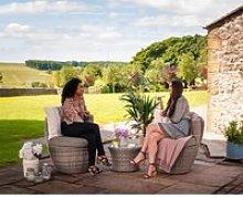 Rattan Garden Vase Set in Grey - Orlando - Rattan