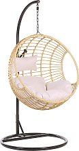 Rattan Hanging Chair with Stand Beige ASPIO