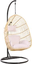 Rattan Hanging Chair with Stand Beige CASOLI