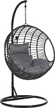 Rattan Hanging Chair with Stand Black ASPIO
