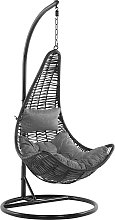 Rattan Hanging Chair with Stand Black ATRI