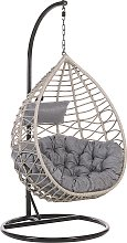 Rattan Hanging Chair with Stand Grey ARSITA