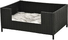 Rattan Small Elevated Dog Bed Raised Pet Sofa for