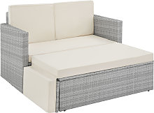 Rattan sofa Corfu, variant 2 - light grey