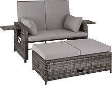 Rattan sofa Crete - grey