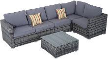 Rattan Sofa Set 4PC Patio Cushioned Corner Sofa
