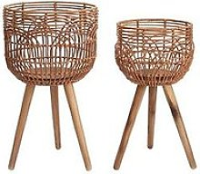 Rattan-Style Standing Planters - Set Of 2