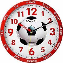 Ravel Red Childrens Football Time Teacher Quartz