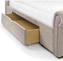 Ravello Mink Fabric Scroll 2 Drawer Storage Bed