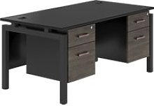 Raven Bench Leg Double Pedestal Desk (Denver Oak)