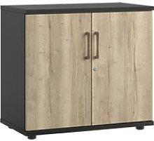 Raven Low Double Door Cupboard (Rustic Oak)