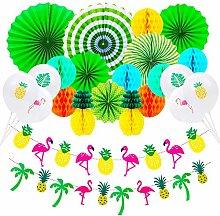 Ravenox 33pcs Hawaiian Party Decorations,Pineapple