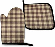 Rcivdkem Buffalo Check Plaid Brown Art Oven Mitts