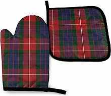 Rcivdkem Fraser Red Tartan Oven Mitts And
