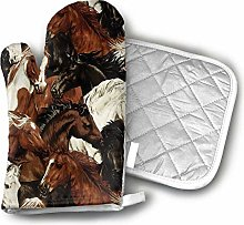 Rcivdkem Oven Mitt And Pot Holder Set Brown White