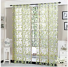 Rcool Flower Sheer Curtain Tulle Window Treatment