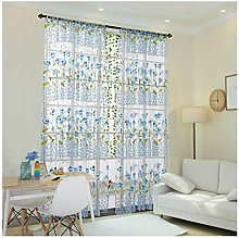 Rcool Morning Glory Flower Sheer Curtain Tulle